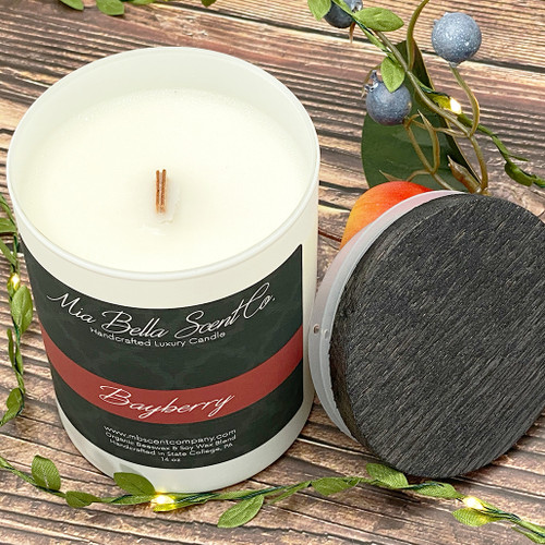 Mia Bella Scent Co Bayberry 14oz Dual Wood Wick Candle