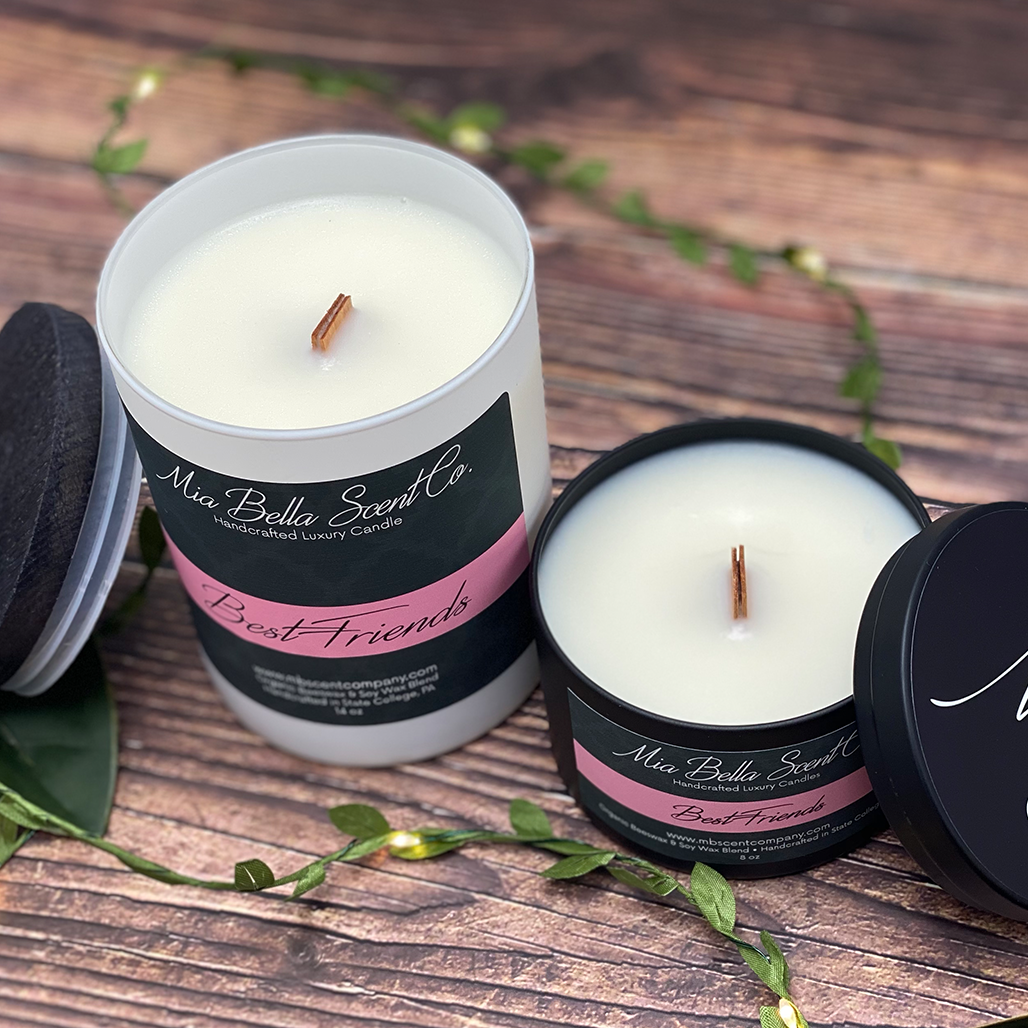 Get Organic and Dye-free dual wood wick candles at Mia Bella Scent Company! Best candles for the best prices