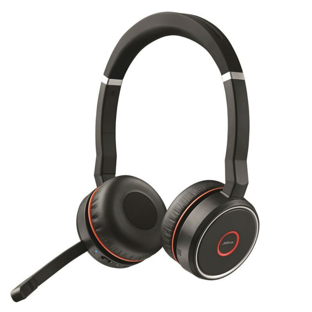 Jabra Evolve 75 MS Stereo Wireless Noise Cancelling Headset With Link 370 USB Adapter (Black)
