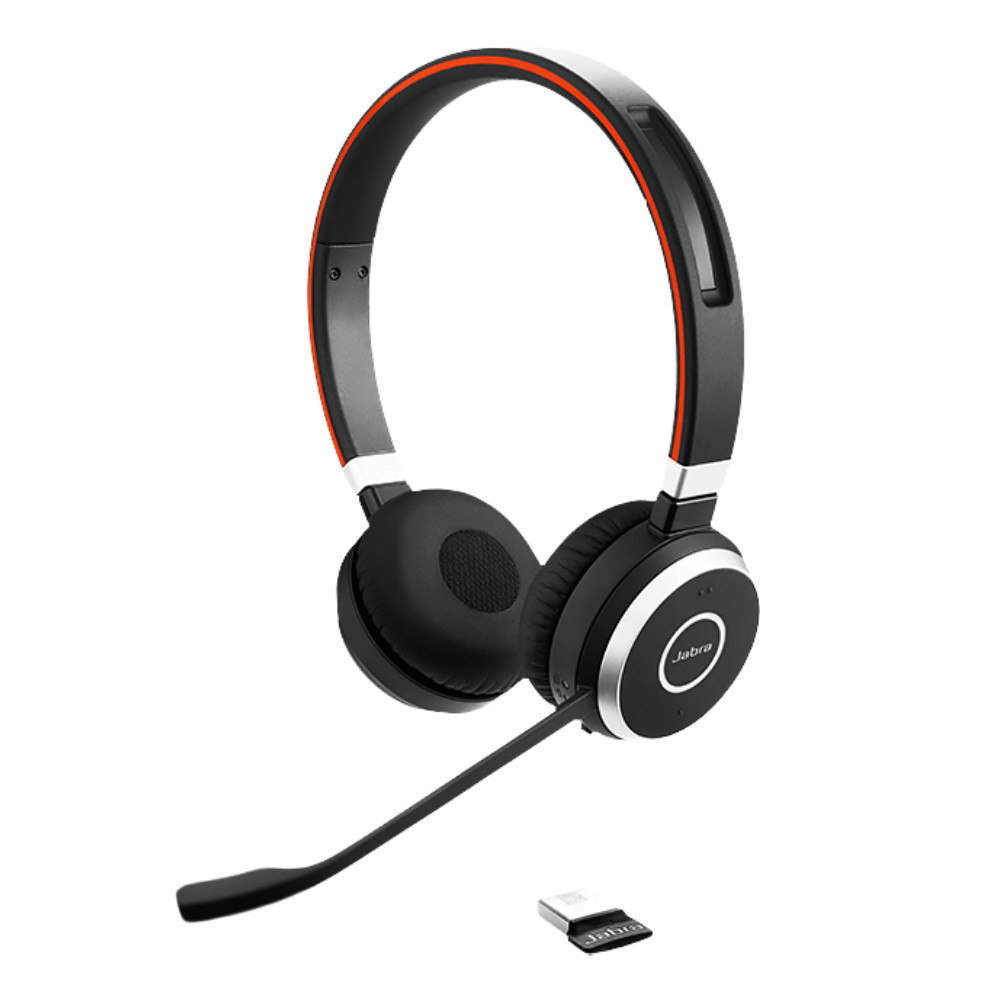 Jabra Evolve 65+ UC Stereo Wireless Headset With Charging Stand & USB Adapter