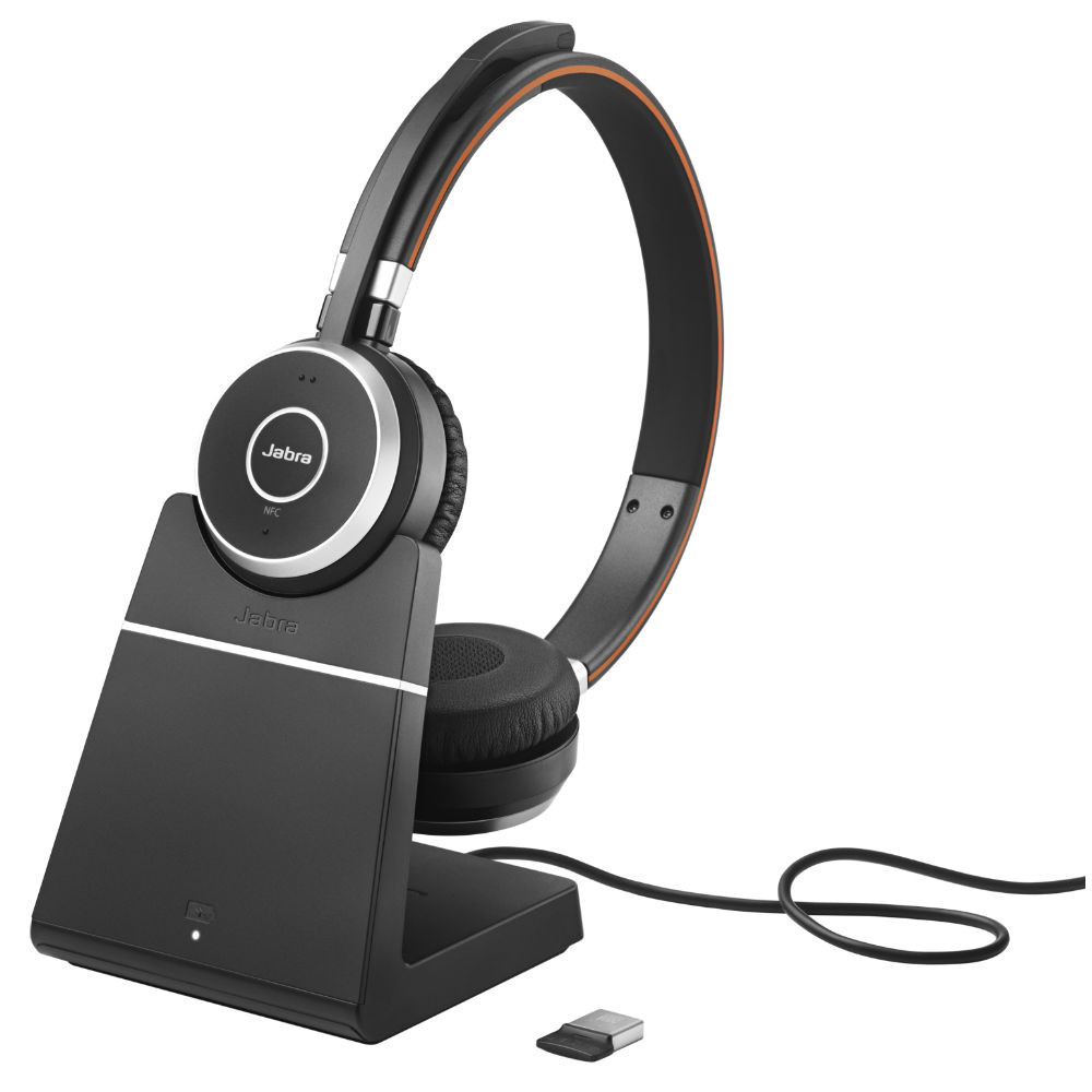 Jabra Evolve 65+ UC Stereo Wireless Headset With Charging Stand & Link 370 USB Adapter (Black)