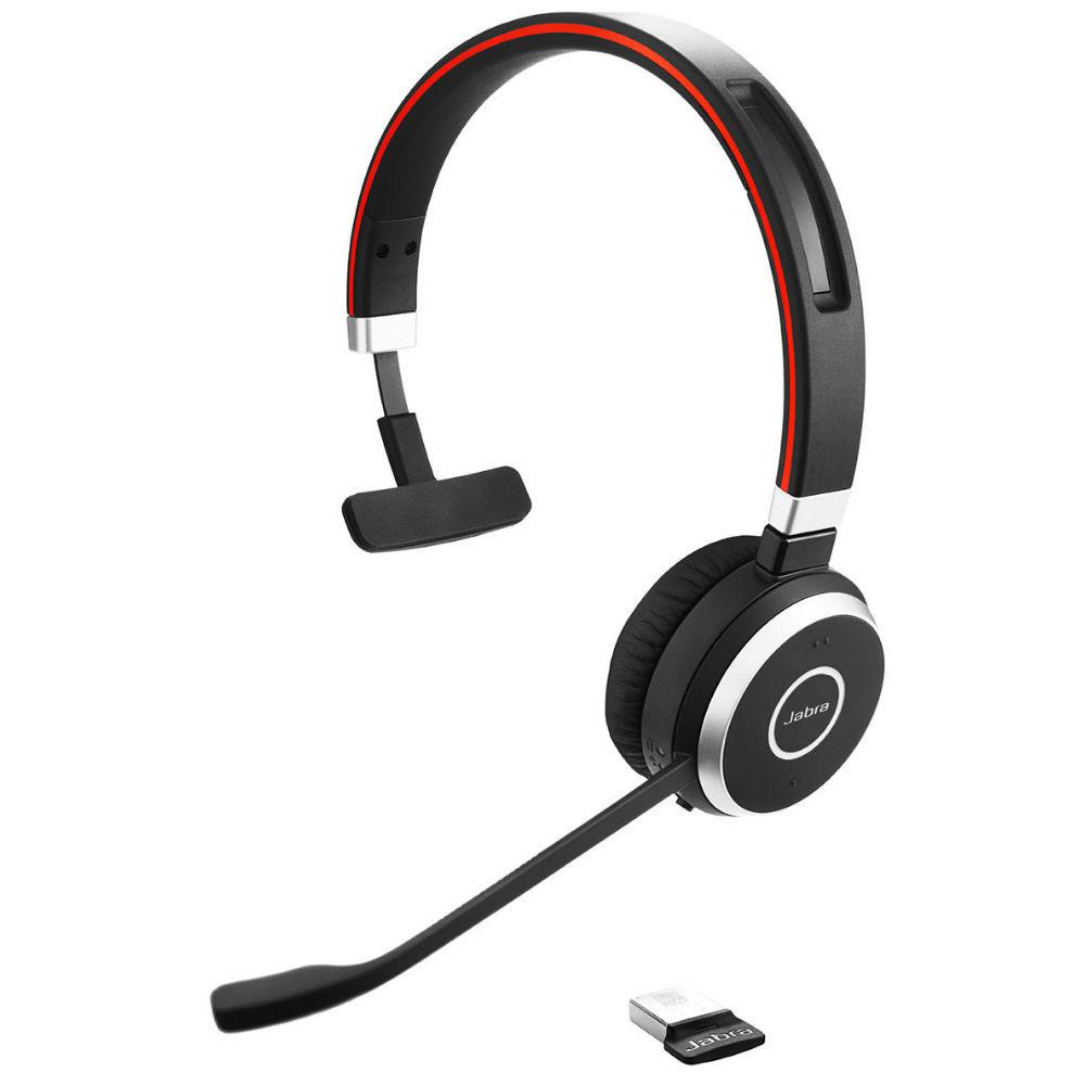 Jabra Evolve 65 UC Mono Wireless Headset With Link 370 USB Adapter (Black)