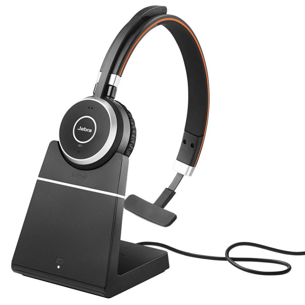 Jabra Evolve 65+ MS Mono Wireless Headset With Charging Stand & Link 370 USB Adapter (Black)