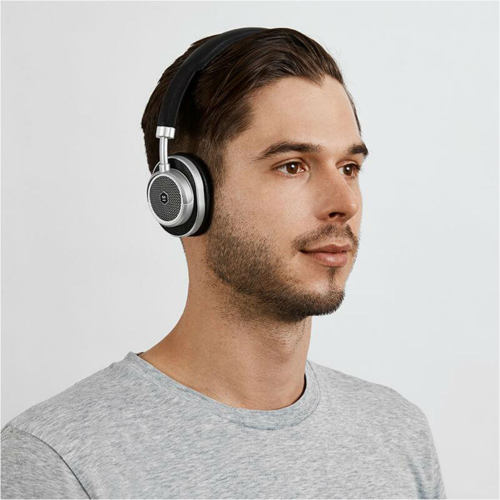 Master & Dynamic MW50+ 2-In-1 Wireless On-Ear & Over-Ear Headphones (Silver Metal / Black Leather)