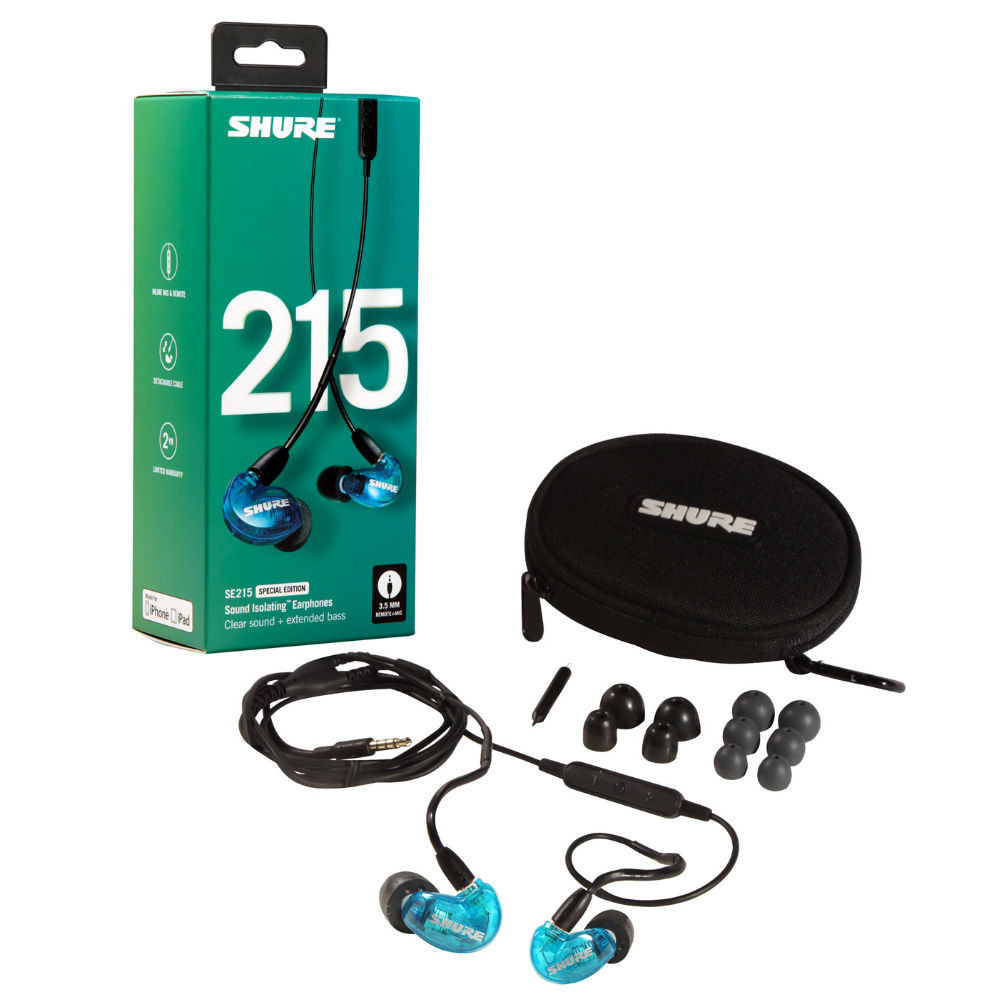Shure SE215 Single Microdriver Sound Isolating Earphones Special Edition With Universal Cable (Blue)