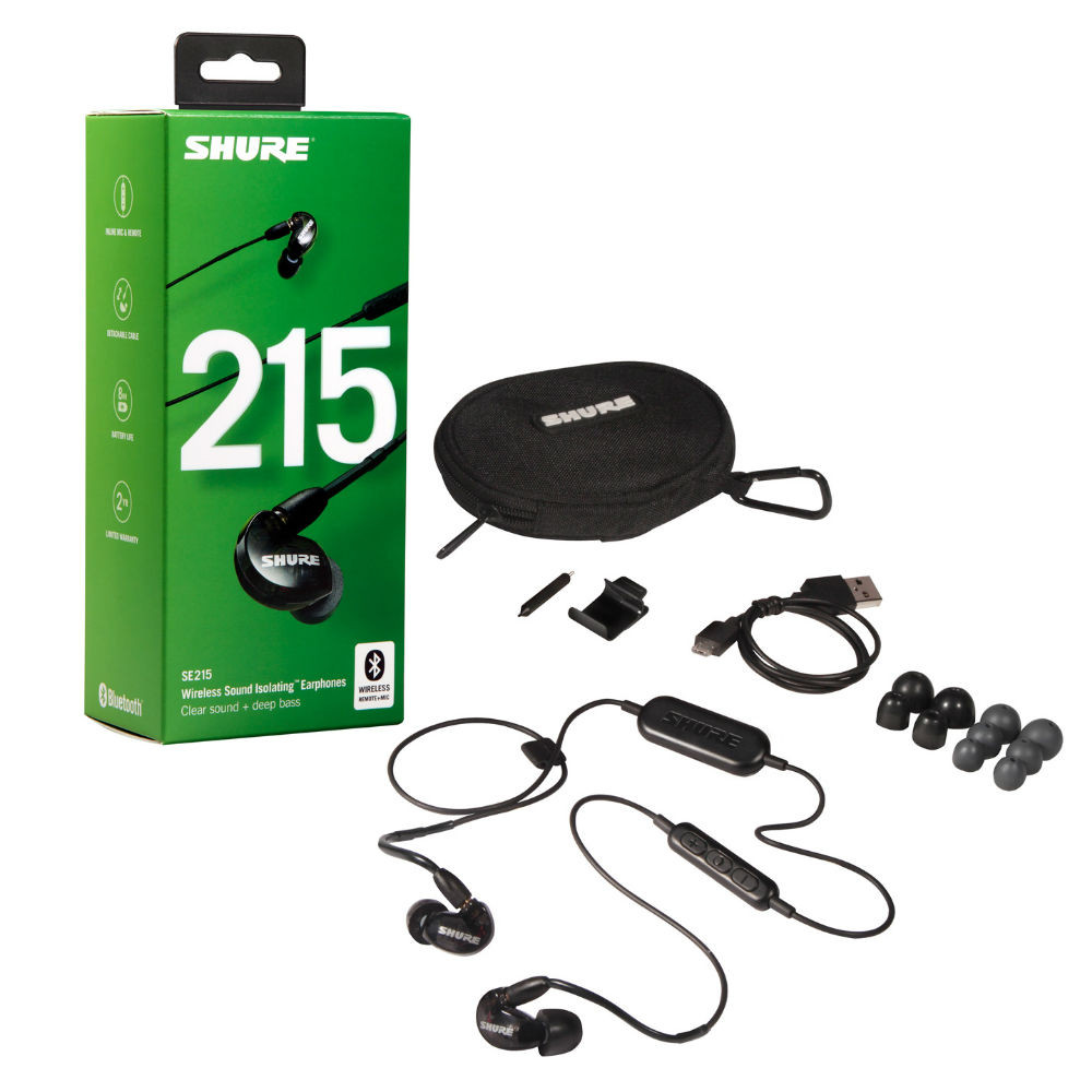Shure SE215 Single Microdriver Earphones With RMCE-BT2 Bluetooth Cable (Black)