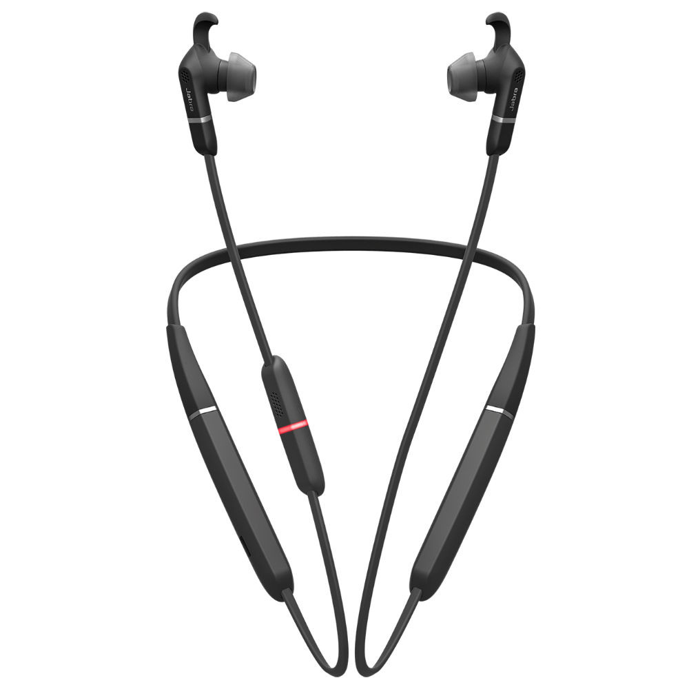 Jabra Evolve 65e UC Professional Wireless Neckband Headset With Link 370 USB Adapter (Black)