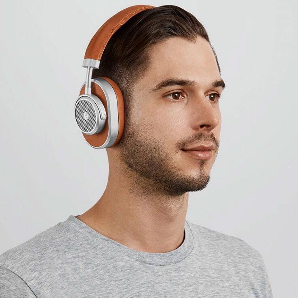 Master & Dynamic MW65 Active Noise-Cancelling Wireless Headphones (Silver Metal / Brown Leather)