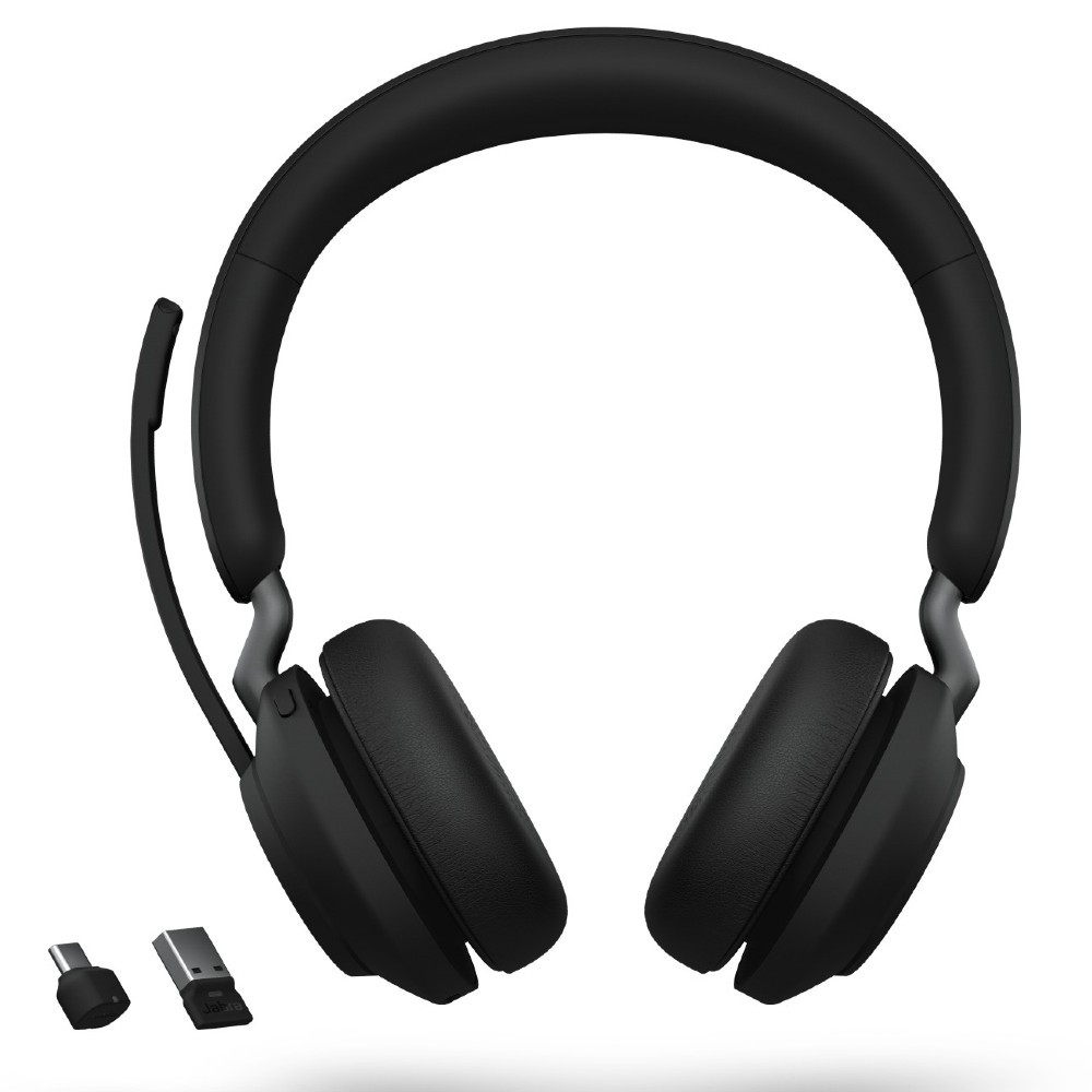 Jabra Evolve2 65 MS Stereo Headset With Link 380 USB-A Wireless Adapter And Charging Stand (Black)