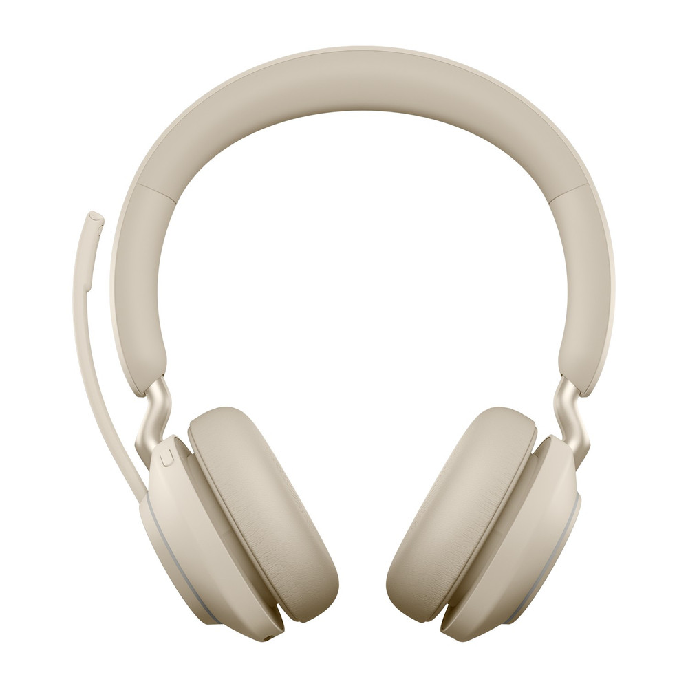 Jabra Evolve2 65 MS Stereo Headset, With Link 380 Wireless Adapter, With Charging Stand (Beige)