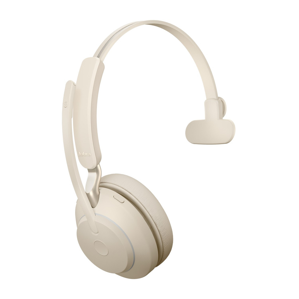 Jabra Evolve2 65 MS Mono Headset, With Link 380 Wireless Adapter, With Charging Stand, USB-C (Beige)