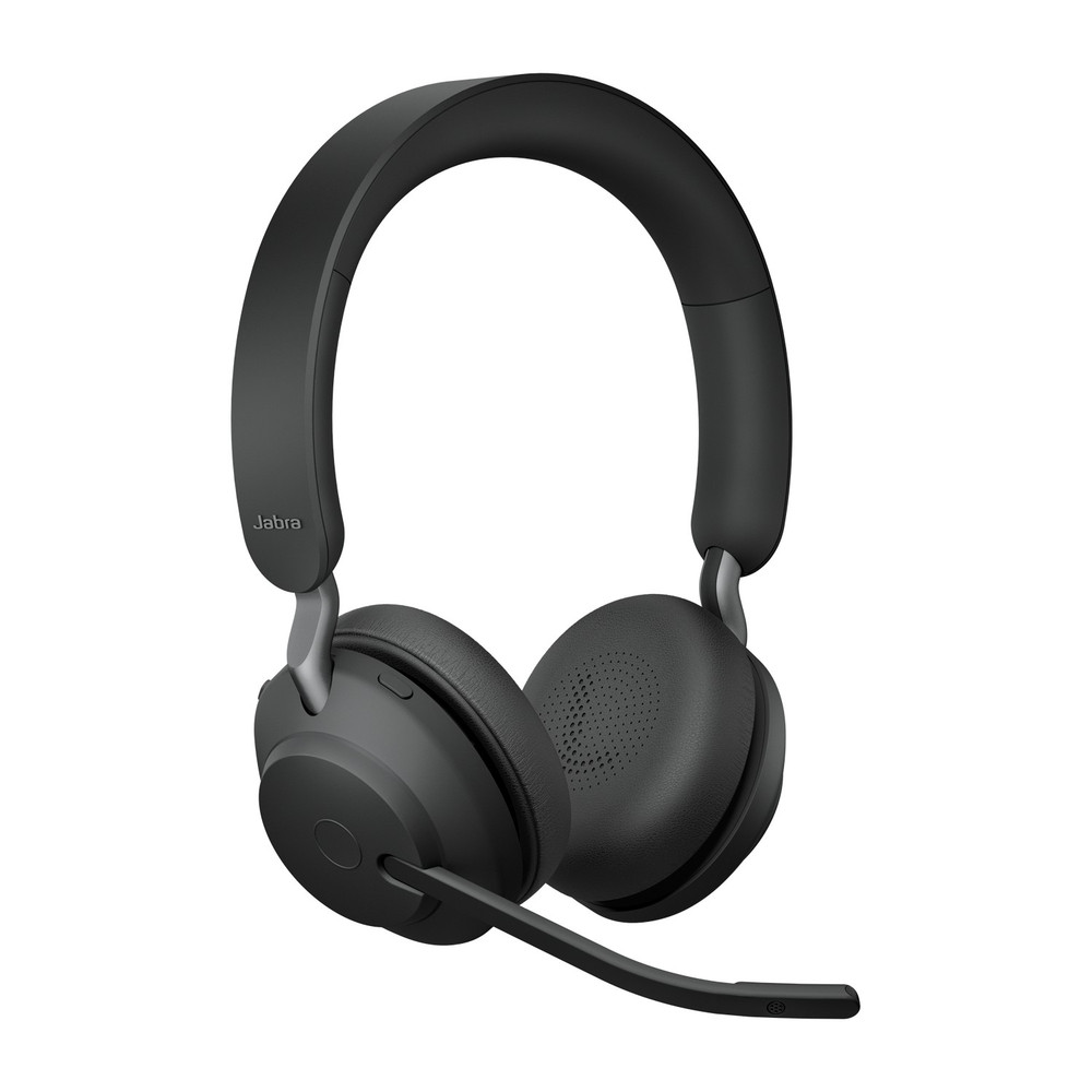 Jabra Evolve2 65 MS Stereo Headset With Link 380 USB-C Wireless Adapter And Charging Stand (Black)