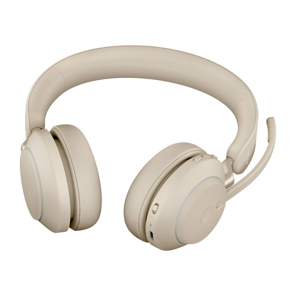 Jabra Evolve2 65 MS Stereo Headset, With Link 380 Wireless Adapter, With Charging Stand, USB-C (Beige)