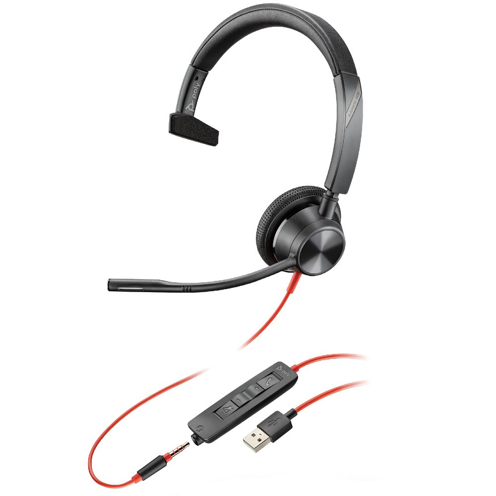 Poly Plantronics Blackwire 3315-M Teams Mono Office Headset USB-A With 3.5mm