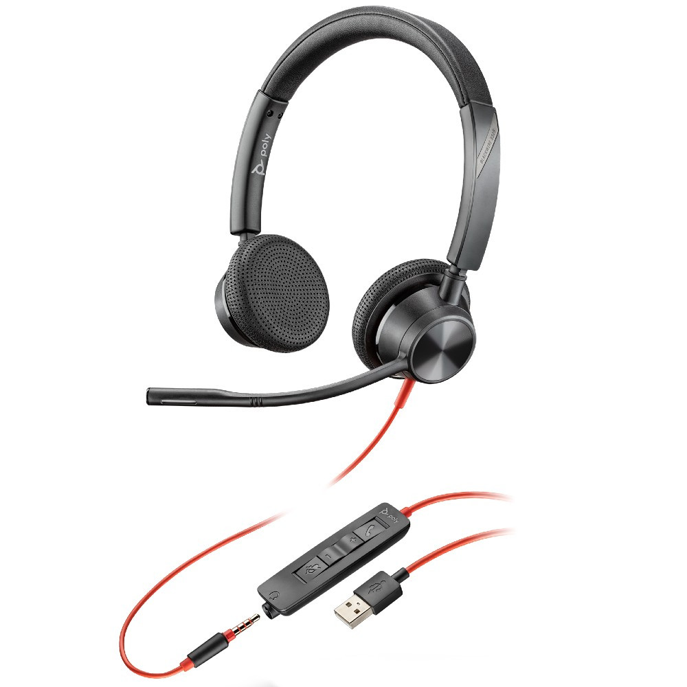 Poly Plantronics Blackwire 3325 UC Stereo Office Headset, USB-A, 3.5mm