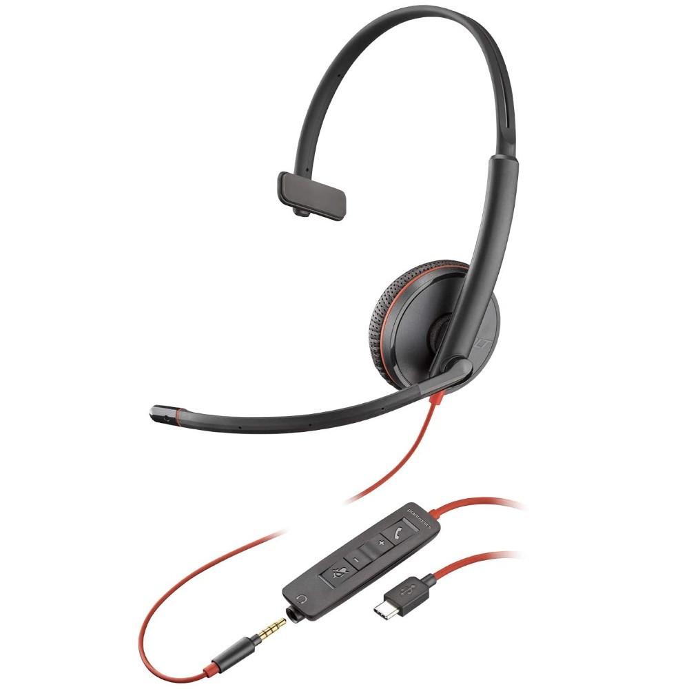Poly Plantronics Blackwire 3215 Mono Office Headset, USB-C, 3.5mm