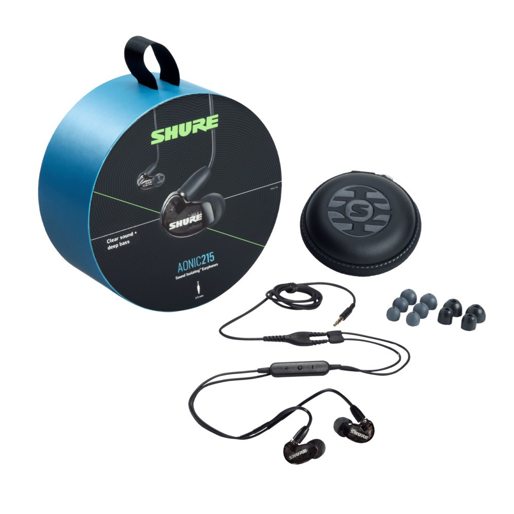 Shure Aonic 215 Sound Isolating Earphones With Integrated Remote and Mic (Black)