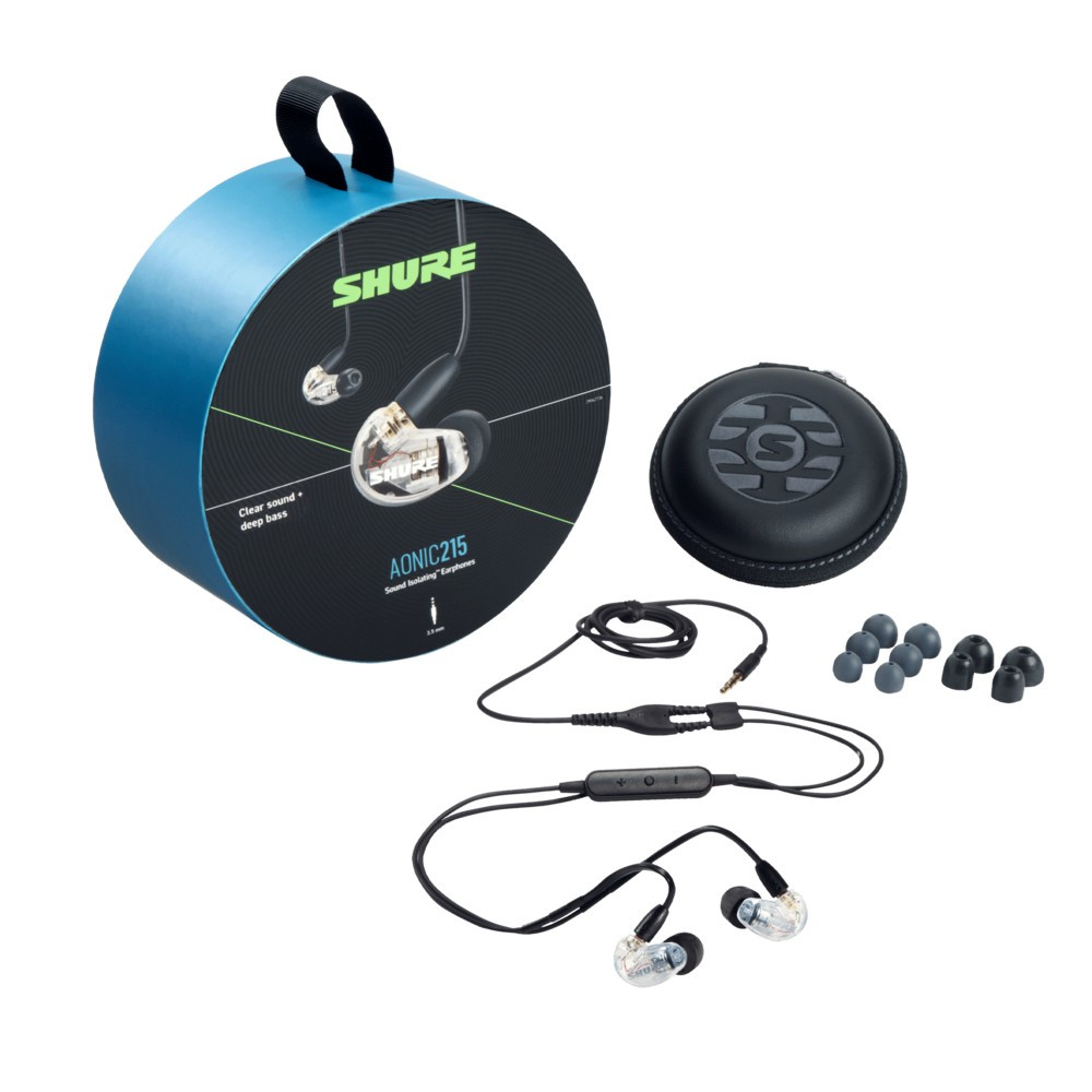 Shure Aonic 215 Sound Isolating Earphones With Integrated Remote and Mic (Clear)