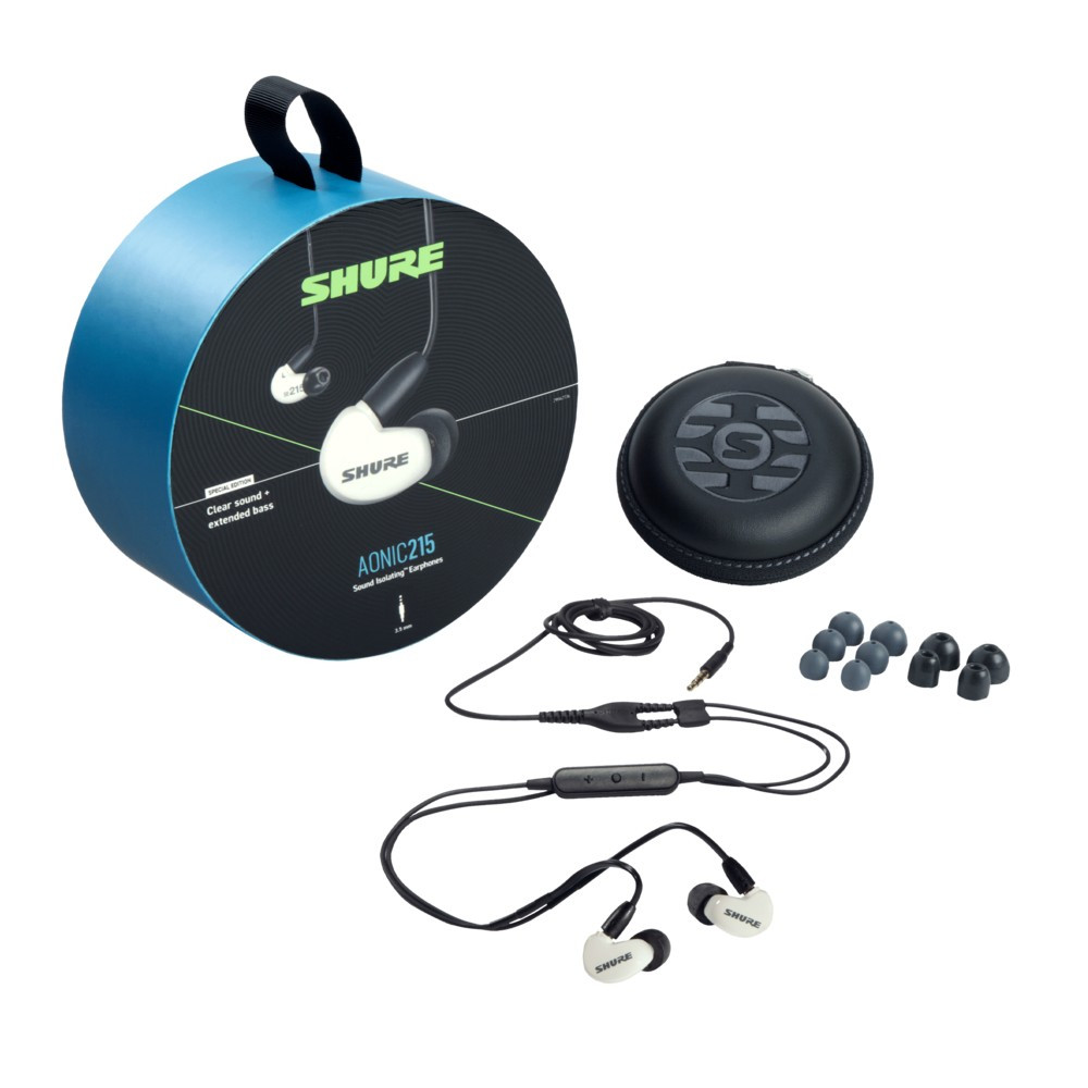 Shure Aonic 215 Sound Isolating Earphones With Integrated Remote and Mic (White)