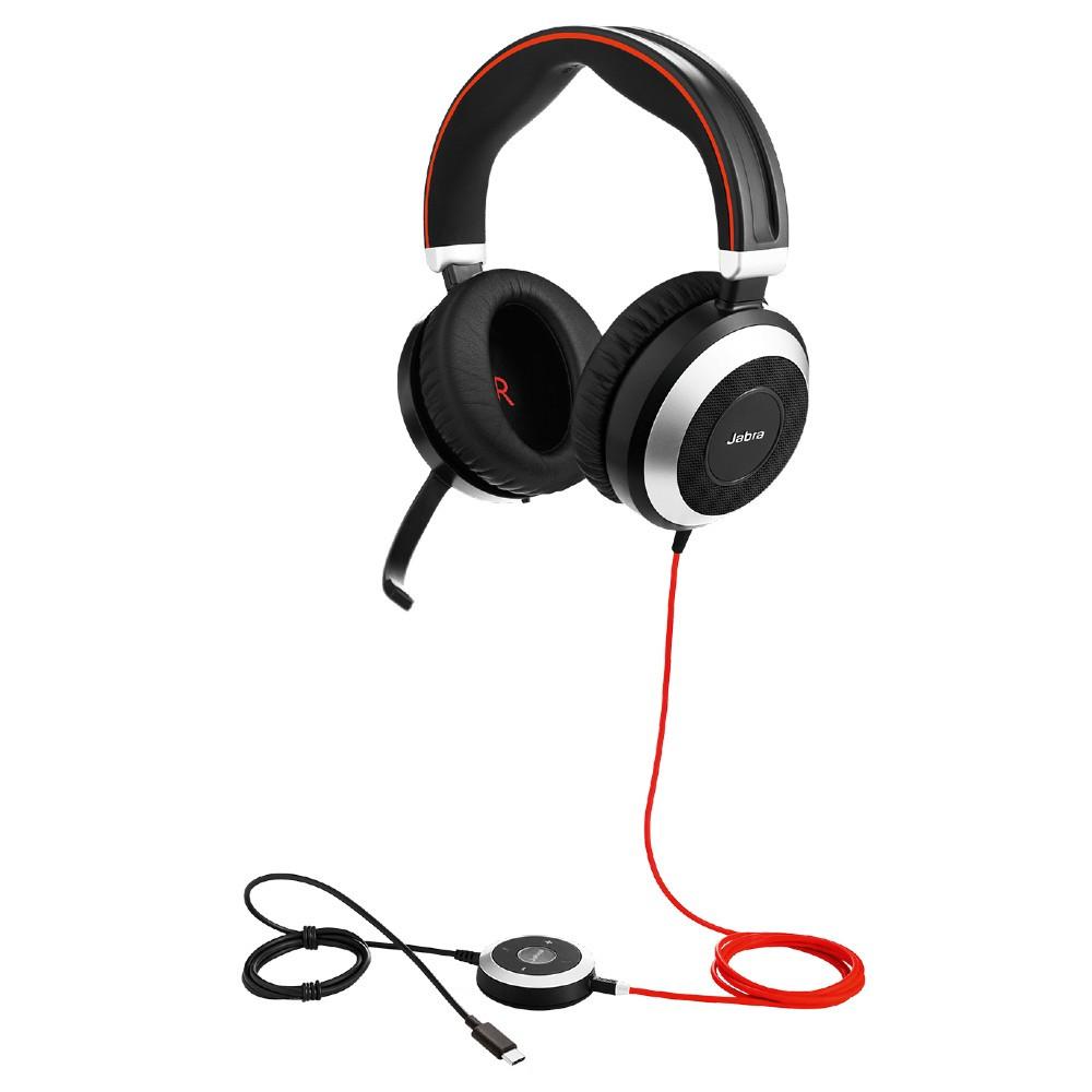 Jabra Evolve 80 MS Stereo Active Noise Cancelling Headset, USB-C, 3.5mm (Black)