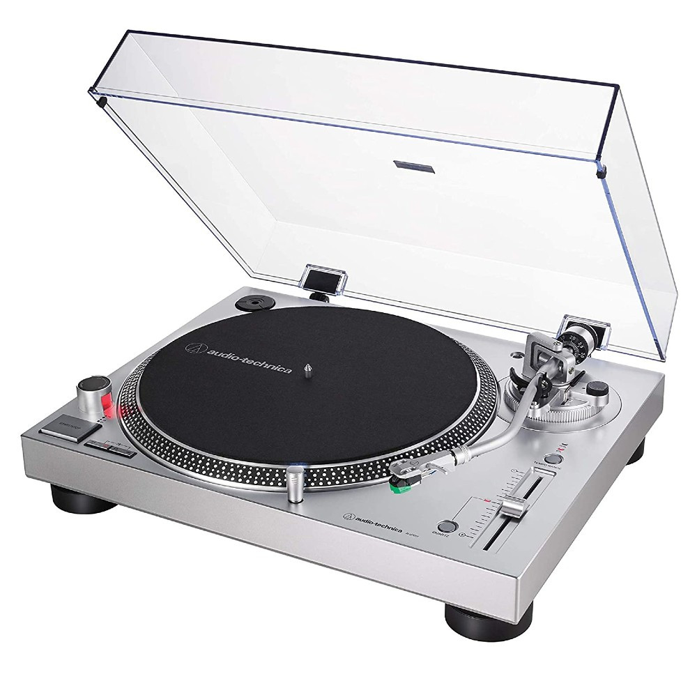 Audio-Technica AT-LP120XUSB Fully Manual Direct Drive Professional Turntable, Analog & USB (Silver)