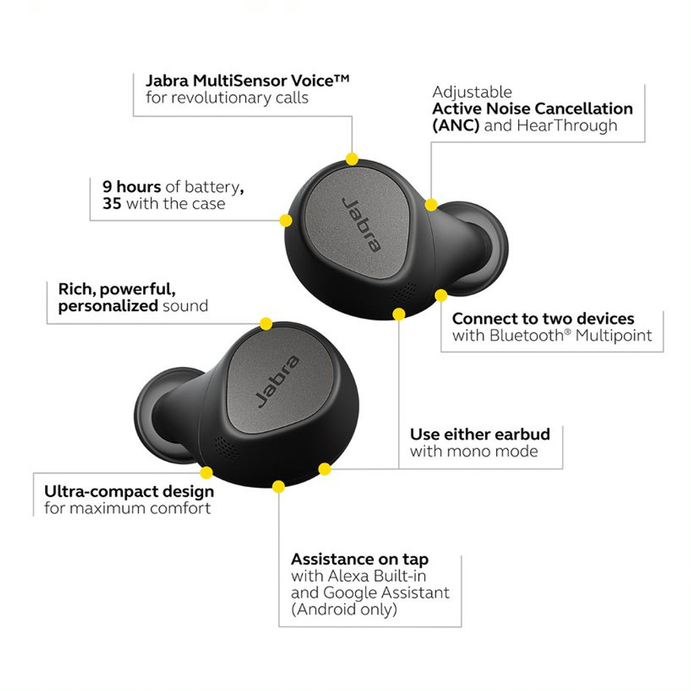 Jabra Elite 7 Pro Active Noise Cancelling Wireless Earbuds With Charging Case (Black)
