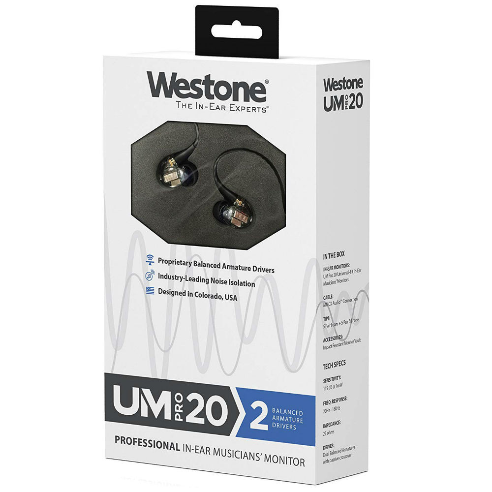 Westone UM PRO 20 Dual Driver In-Ear Monitors With Removable MMCX Audio Cable (Clear)