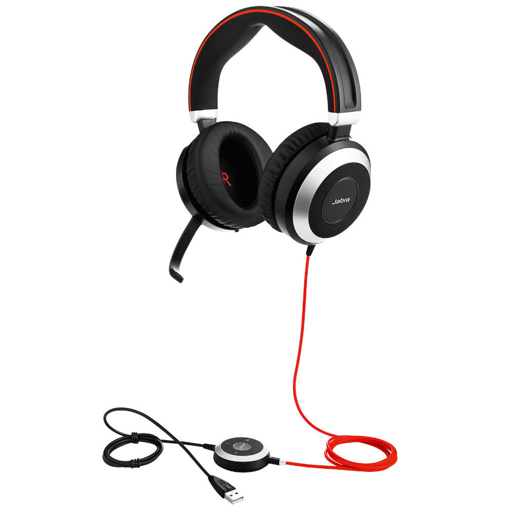 Jabra Evolve 80 MS Stereo Active Noise Cancelling Headset, USB-A, 3.5mm (Black)