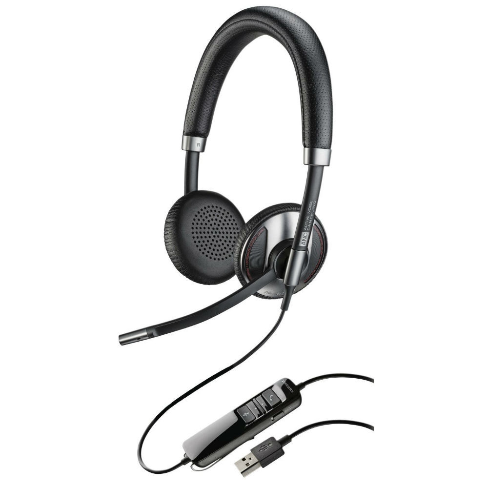 Plantronics Blackwire 725-M Microsoft Corded USB Headset With Noise Cancellation (Black)