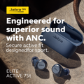 Jabra Elite Active 75t True Wireless Earbuds With Active Noise Cancellation And Wireless Charging Case (Grey)