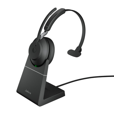 Jabra Evolve2 65 MS Mono Headset With Link 380 USB-C Wireless Adapter And Charging Stand (Black)