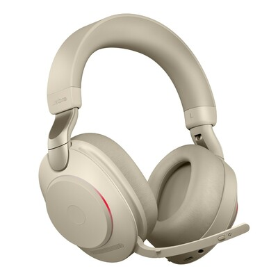 Jabra Evolve2 85 UC Stereo Active Noise Cancelling Headset With Link 380 USB-A Wireless Adapter (Beige)