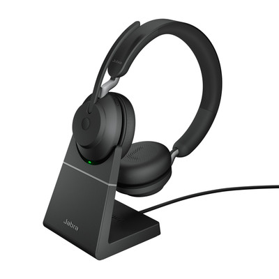 Jabra Evolve2 65 UC Stereo Headset With Link 380 USB-A Wireless Adapter And Charging Stand (Black)