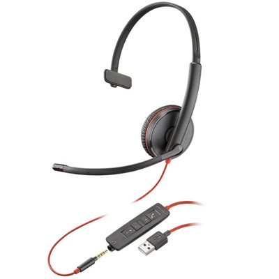 Poly Plantronics Blackwire 3215 Mono Office Headset, USB-A, 3.5mm