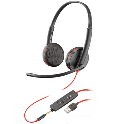 Poly Plantronics Blackwire 3225 Stereo Office Headset, USB-A, 3.5mm