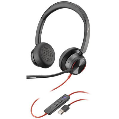 Poly Plantronics Blackwire 8225-M Active Noise Cancelling Headset With Adjustable Mic Boom, USB-A