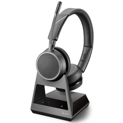 Poly Voyager 4220 Office Stereo Wireless Headset, 2-Way Base, Microsoft Teams, USB-C (Black)