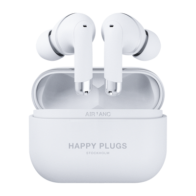 Happy Plugs Air 1 ANC Active Noise Cancellation True Wireless Earbuds (White)