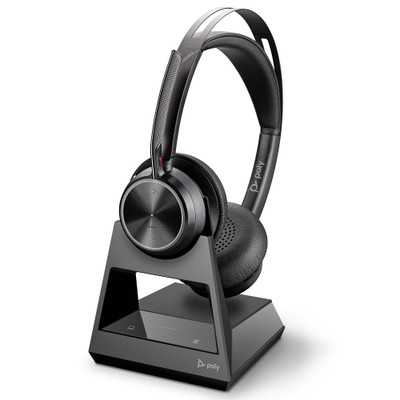 Poly Plantronics Voyager Focus 2 Office Wireless Headset With Active Noise Cancellation, With 2-Way Charging Stand, USB-A