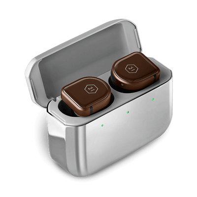 Master & Dynamic MW08 Active Noise-Cancelling True Wireless Earbuds (Brown Ceramic / Stainless Steel Case)