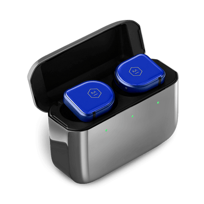 Master & Dynamic MW08 Active Noise-Cancelling True Wireless Earbuds (Blue Ceramic / Polished Graphite Case)