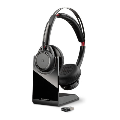 Poly Plantronics Voyager Focus UC B825-M Microsoft Noise Cancelling Headset, With Charging Stand, USB-A (Black)