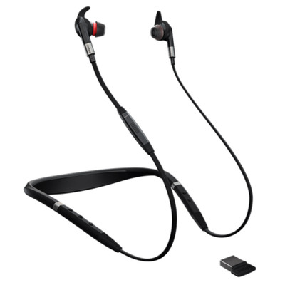 Jabra Evolve 75e MS Professional Noise Cancelling Wireless Neckband Headset With Link 370 USB Adapter (Black)