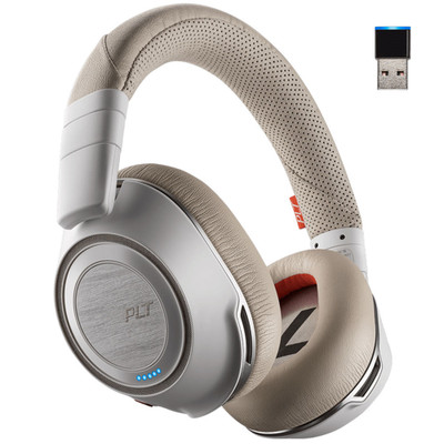 Poly Plantronics Voyager 8200 UC Noise Cancelling Wireless Headset With USB-A Wireless Adapter (White)