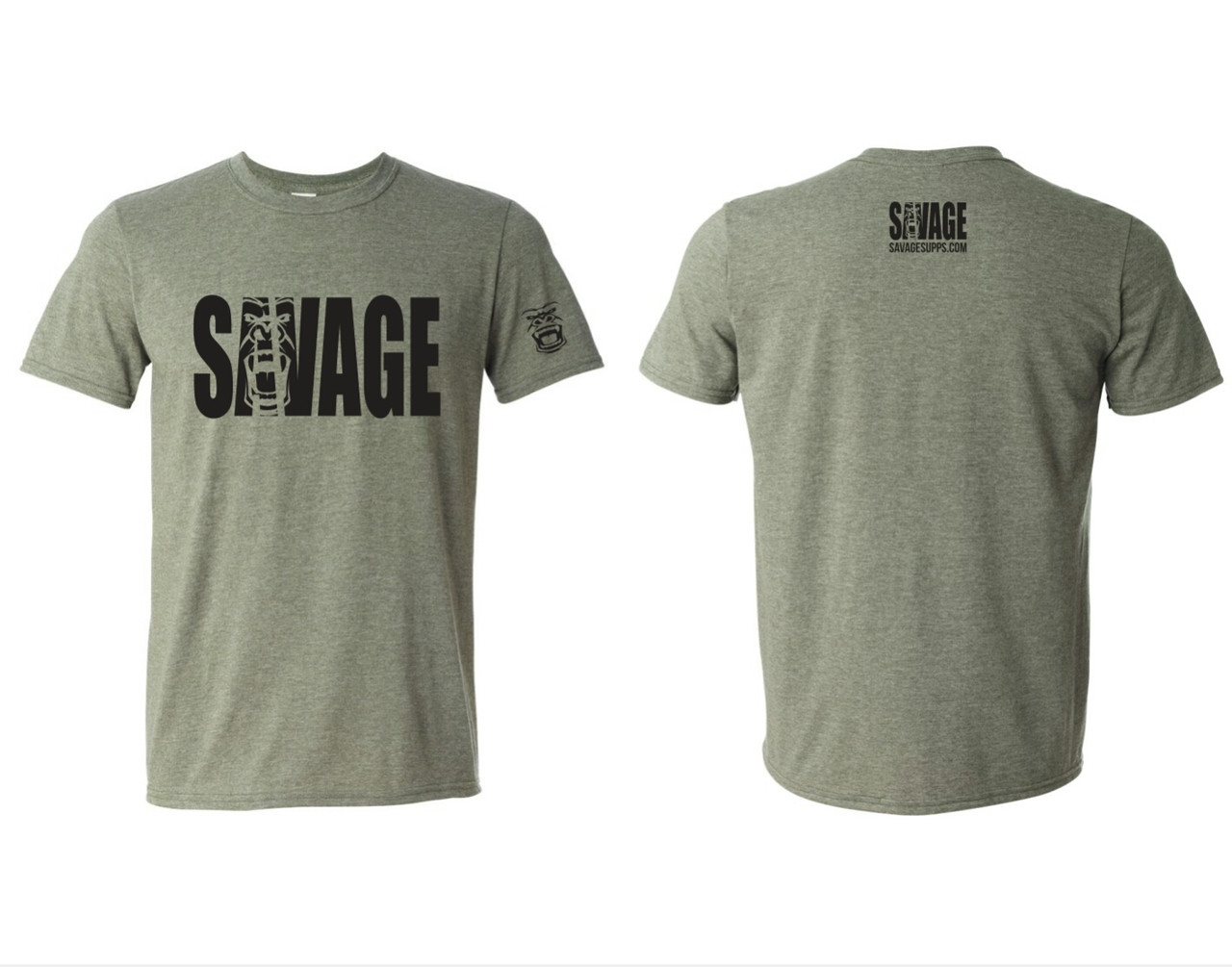 ff36b22468b1 military olive green tight fitting savage t shirt gorilla logo on sleeve. black  lettering savage