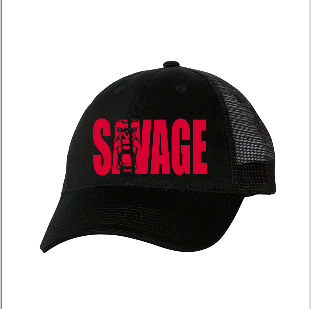 black mesh hat with red savage lettering. 12130e447d2