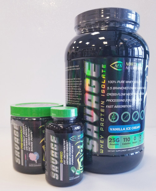 savage stack featuring out savage whey protein powder, black container green lid savage preworkout. black bottle green lid green pills fat burner savage shred.