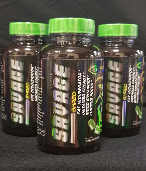 black container green lid savage shred fat burner/energy focus green pill.