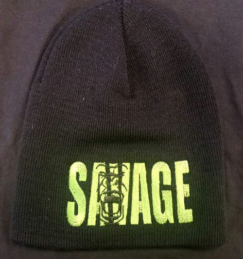black soft material beanie cap with green savage lettering.