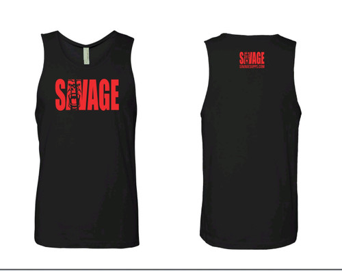 black soft material tank top with red savage lettering on front and back.